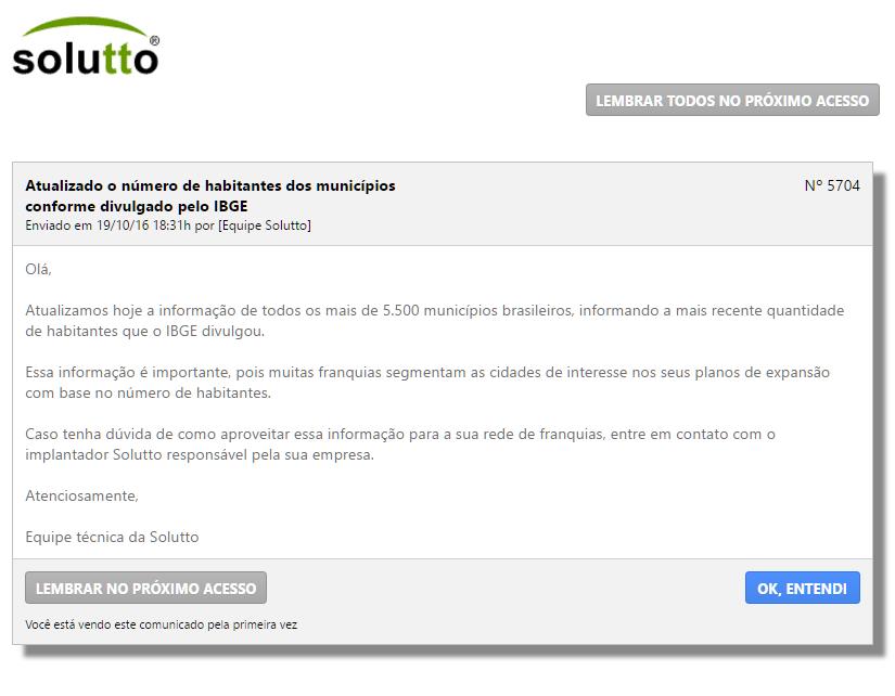 Comunicado que foi enviado por dentro do Solutto para os usuários da área de expansão